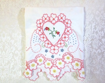 Vintage Madeira Embroidery Pillowcase Hand Embroidered Pink Hearts Valentine Valentine's Day White Bedding Cutwork Shabby Chic Cottage Decor