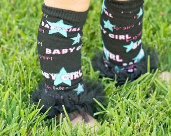 Black baby girl Ruffle Tutu Leg Warmers - Perfect for Birthday, Costume, Photo Prop, Dress up, Fits Girls 6M-6X