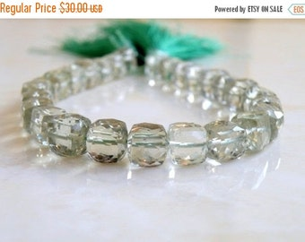 Clearance SALE Prasiolite Green Amethyst Gemstone Faceted Cube 8.5mm 11 beads 1/2 strand