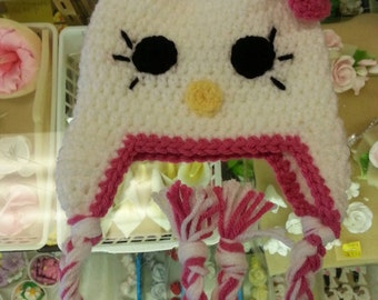 Pink Hello Kitty Earflap Hat Size 6 month to 2 years