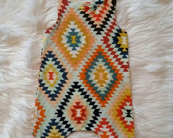 Romper with Ruffles*3-6 Months*Ready to ship*Knit*Tribal Print