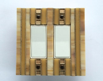 Yellow Switchplate, Stained Glass Light Switch Cover, Double Decora Wall Plate, Rocker Switch Plate, Dimmer Switch, Rectangle Outlet, 8273