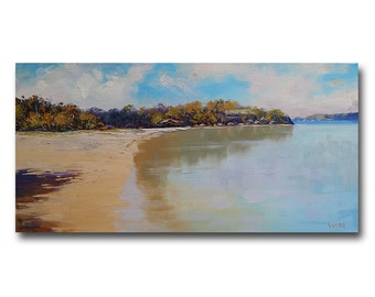 Manly Beach Painting Original oil Seascape Impressionist Ocean Wall Art