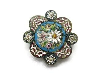 Micro Mosaic Brooch - Miniature Mosaic Italy Millefiori, Unique Shape