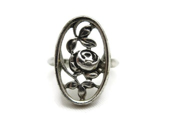 Silver Rose Ring - Vintage Avon Costume Jewelry, Flower, Cutout