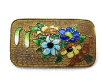 Guilloche Enamel Brooch - Floral, Flower Bouquet, Brass