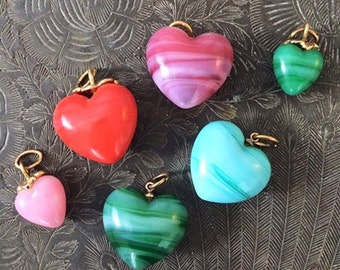 Puffy Heart Pendant - Turquoise Glass Fob Charm