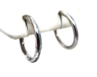 Sterling Jewelry - Silver Hoop Earrings - Vintage, Minimalist, Simple