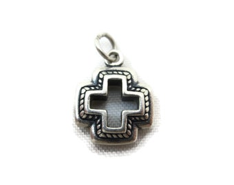 Sterling Cross Necklace Pendant - Silver Charm, Etruscan Revival
