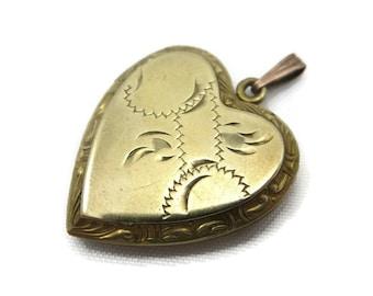 Edwardian Jewelry - Gold Heart Locket, Etched, Costume Jewelry, Sweetheart Locket