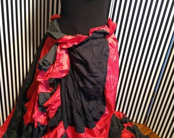 Red Black Circus Ruffle Red Queen Full Skirt