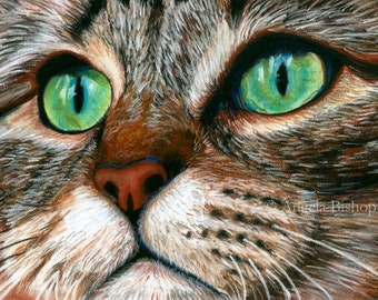 Tabby Cat Painting Print, Cat Print, Art Print, Reproduction, Cat, Pet, Portrait, 8 x 10, Realism, Giclee, Pastel, Painting, Fine Art