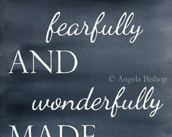 Psalm 139:14 Painting Print, Watercolor Painting Print, I am Fearfully and Wonderfully Made, Sign, Lettering, Christian, Painting, Gray