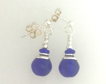 Cobalt Blue Glass And Silver Earrings #8