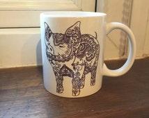 Pig / zentangle design white 11 oz mug
