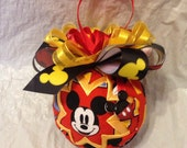 Quilted Christmas Ornament Disney Inspired Mickey Mouse Quilted Christmas Ornament Birthday Gift Hostess Gift