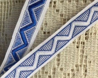 Italy 2 Yards Vintage Woven Edging Fabric Sewing Trim Blue And White  IT 45