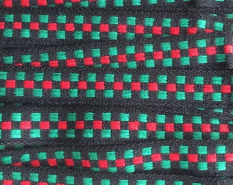 Italy 2 Yards Vintage Woven Edging Fabric Sewing Trim Red Black And Green  IT 48