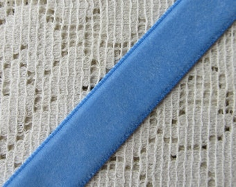 3 Yards Velvet Ribbon Trim Medium Blue 1/2 Inch Wide