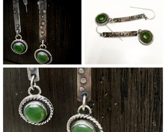 Jade and Embossed Silver Dangle Earrings