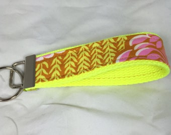 Wristlet Key Fob Wrist Key Chain Key Holder in Amy Butler Soul Blossom Ready to Ship