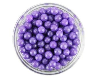 Pearly Purple Sugar Pearls - edible shimmer bright lavender sugar pearl sprinkles