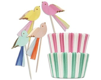 Pretty Birdies Cupcake Kit - 24 striped pink and mint baking cups and 24 pastel and gold bird cupcake picks