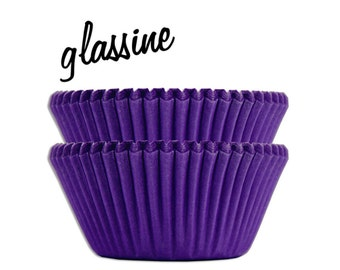 Purple Glassine Baking Cups - 50 solid purple paper cupcake liners