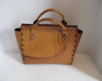 Vintage Heavy Leather Hand Bag Tote Bag Hand Made Short Handle
