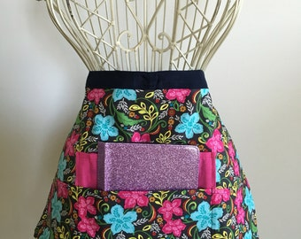 Half Apron Teacher Vendor Art Craft iPad Teal Aqua Pink Floral Fabric (4 Pockets)