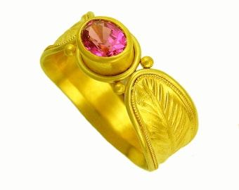 22k gold Palmate Ring with Magenta Sapphire using 100 percent recycled gold