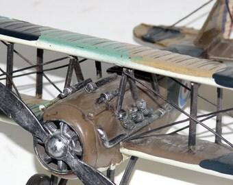 Large Metal Bi-Wing Airplane, Looks Handmade and Painted