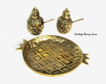 Vintage Brass Miniatures, Mini Tray / Pineapple Condiment Jars
