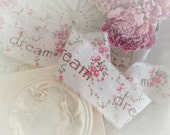 dream - Romantic French Country Roses - Vintage Fabric  - Hand stamped Ribbon Trim - Homestead Treasures