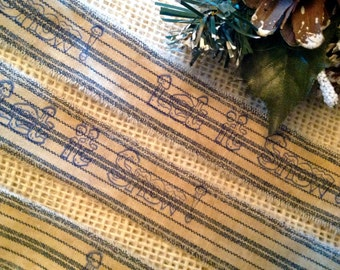 Holiday Homespun Primitive Stripe Distressed Fabric Hand Stamped  with Let  It Snow
