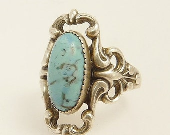 Vintage Sterling Silver Turquoise Ring Baroque Style Blue Turquoise Glass Ring