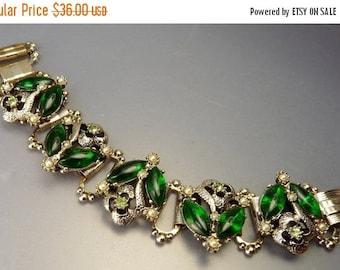 Vintage Green Rhinestone Bookchain Bracelet