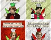 Digital Collage Sheet, 1.5 X 1.5 inch, Funny Holiday Wine Ladies,  Christmas Squares,  (Sheet no.FS249) Instant Download