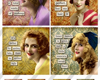 """Digital Collage Sheet, 4X4 inch, Square and Round Funny Beauty Ladies, Coaster Size with 1.5"""" Charms (Sheet no. FS262) Instant Download"""