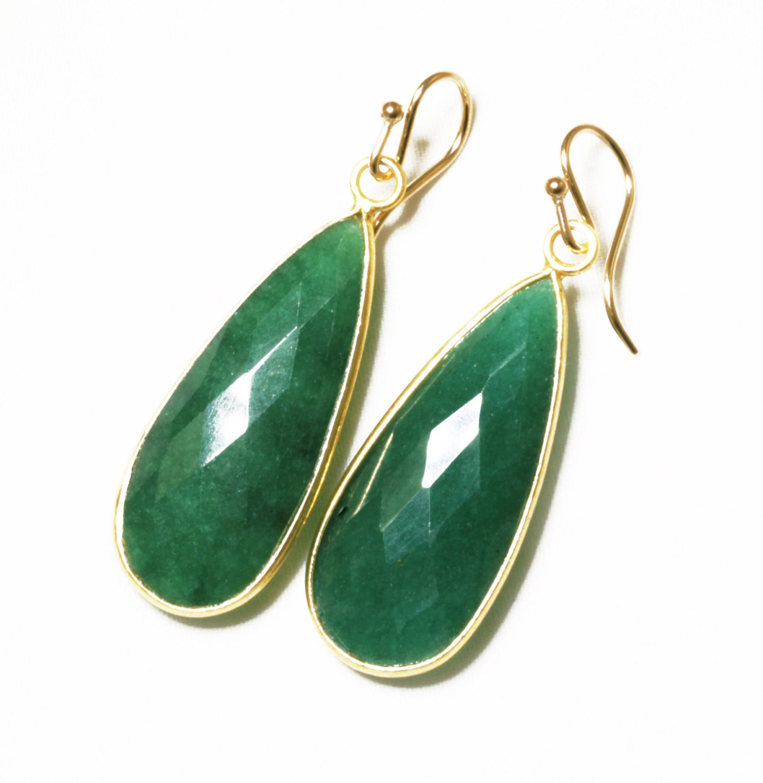 Real Life Emerald: Green Emerald Earrings Precious Emerald Teardrop Earrings Real