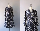 1950s Polka Dot Dress / Vintage 50s Dress / 50s Navy and White Silk Shawl Collar Dress
