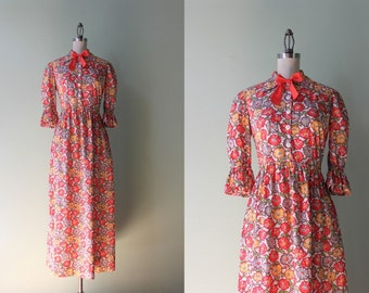 1940s Cotton Maxi Dress / Vintage 40s Shirtwaist Dress / 1930s Floral Cotton Dress