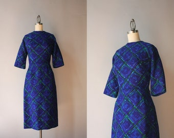 1960s Peggy Hunt Dress / Vintage 60s Sapphire and Emerald Knit Dress / 50s Fitted Fall Dress