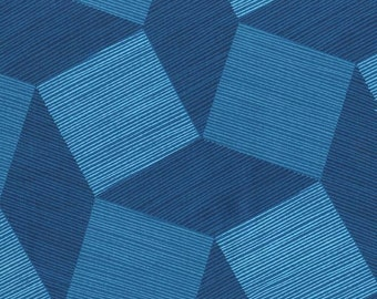 "Tumbling Blocks Blue 108"" Wide Quilt Back Michael Miller Fabric 1 yard"