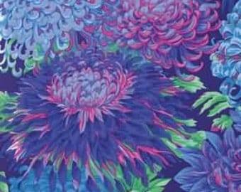 Kaffe Fassett Japanese Chrysanthemum Blue Flower Fabric 1 yard