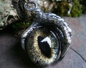 Gothic Steampunk Single Claw Pendant with Galaxy Eye