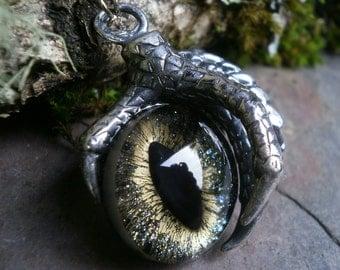 Gothic Steampunk Single Claw Pendant with Galaxy Eye