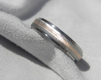 Wedding Band or Ring, Titanium with Rose Gold Inlay, Frosted Polished