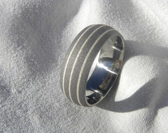 Ring or Wedding Band Titanium with Silver Pinstripe Inlays Sandblasted