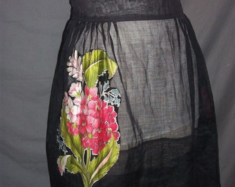 Vintage Sheer Black Half Apron Appliqued Floral w/ Wide Ties